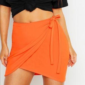 Boohoo orange wrap skirt